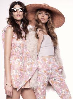 (On Monica) Maticevski Floral Top, Lilya Dusty Pink Skirt, Sunday Somewhere Sunglasses, (On Anna) Maticevski Floral High Waisted Pants, Lilya Fur Jacket, Third Form Bralette, Valere Bracelet, The Hatmaker Pink Straw Hat