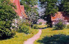 Johan Krouthén (1858-1932)  —   Gårdsplan med pickande höns, 1917 (2091×1355)