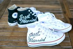 just married converse chucks by b street shoes