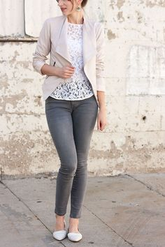 Love the lace top with the jeans and tan coat. Great outfit. Blush Jacket, White Lace Tee, Grey Jeans, Madewell Flats