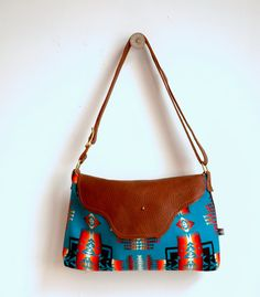 96ac1594a4d2 Nina  Leather Flap Bag in Turquoise Patterned Wool. Pendleton  FabricTurquoise PatternNative DesignBlack ...