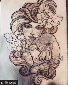 Tattoo design by Teniele Sadd @teniele For Victoria @vikkivampire Working on the…