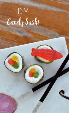 Easy DIY candy sushi made with fruit roll-ups, marshmallows, and colorful gummy candy. Kids can make their own candy sushi! Creative kids party idea, fun kids snacks, easy treats, creative desserts. #partyidea #sushi #sweets