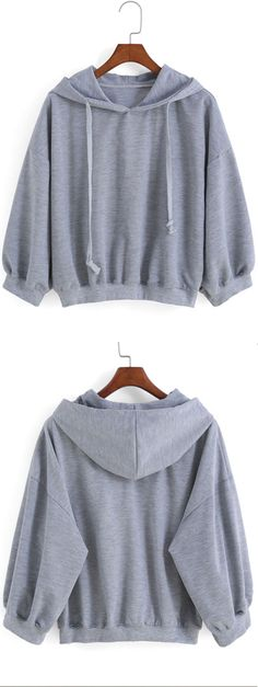 Take this for travel outdoor. easywear & lovely fit! Hooded Drawstring Loose Grey Sweatshirt from shein.com.