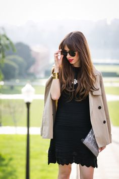 tan trench coat from everlane and black torn by ronny kobo hinda dress M Loves M @marmar