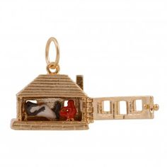 Vintage Gold Charm litte-red-riding-hood and wolf in bed..I'm having a want melt down!