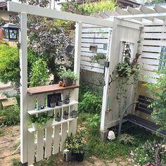 女性で、4LDKのIG→ami09211985/棚DIY/フェンスDIY/植物/植物のある暮らし…などについてのインテリア実例を紹介。「玄関を開けて見える景色♡」(この写真は 2016-10-11 05:46:40 に共有されました)