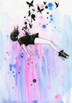 Out of Gravity by Lora Zombie is a magical illustration of what happens when a girl believes she can fly. Falling upward in a sea of pinks and blues, this aerodynamic. Art And Illustration, Illustrations, Watercolor Illustration, Art Anime, Anime Kunst, Inspiration Art, Art Inspo, Kawaii, Bel Art