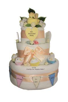 Vintage newborn baby shower nappy cake hidden keepsake capsule.  www.coochycoonappycakes.co.uk