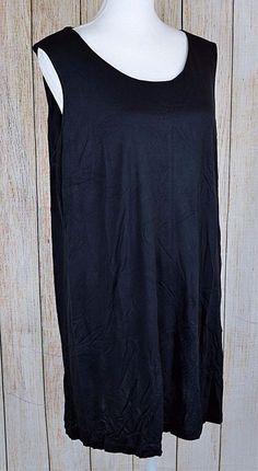 Ellos Sleeveless A-line Tank Top Tunic Blouse Tee Black Plus Size 18/20 Large L #Ellos #TankTopTunic #Casual