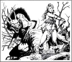 Encounter in the badlands.  (Larry Elmore, The Art of the AD&D Fantasy Game, TSR, 1989.)