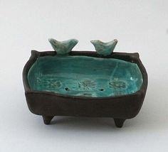 Black And Turquoise Ceramic  Birds Soap by LimorsCeramicsShop, $25.00