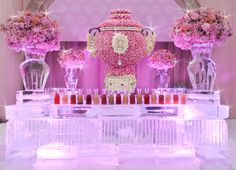 OH MY! Ice bar and beautiful flower arrangements