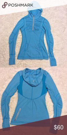 🍋Lululemon! 🍋Firm Price! Last Day Sale 🍋Lululemon🍋Blue Half-Zip Rouched Hoodie lululemon athletica Sweaters