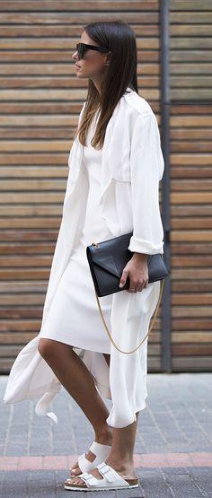 All white, black accessories.