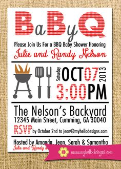 Printable BBQ Invitation - Backyard BBQ Shower Invite DIY - birthday baby shower invitation party grill backyard