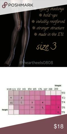 🌼Incredibly Sexy and Durable Hold-ups Sz 3 Medium Sensuous, microfibre hold-ups with a sexy, gold lace top. Made from single-covered elastane yarn for durability. Smart semi-matte finish, double silicone band for comfort. Fibre content: 88% Polyamide, 12% Elastane. Fiore Accessories Hosiery & Socks
