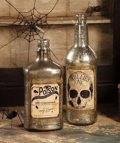Mercury Glass Halloween Bottles