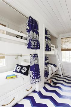 Gorgeous summer blue and white beach bunk room bedroom.