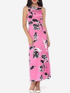 Crew Neck Dacron Floral High Slit Printed Maxi Dress