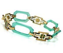 Art Deco Chrysophrase Gold Enamel Bracelet ❤