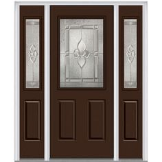Milliken Millwork 64.5 in. x 81.75 in. Master Nouveau Decorative Glass 1/2 Lite Painted Fiberglass Smooth Exterior Door with Sidelites, Polished Mahogany