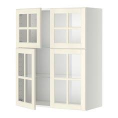 METOD Wall cabinet w glass drs - white, Bodbyn off-white - IKEA Ikea Kitchen Wall Cabinets, Kitchen Wall Units, Glass Kitchen, Glass Hinges, Bodbyn, Bamboo Shelf, Hanging Closet Organizer, Ikea Family, Cuisine Ikea