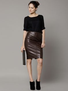 Buy Marks   Spencer Coffee Brown Leather Solid Pencil Skirt online 3221ae010