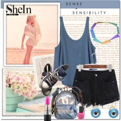 Designer Clothes, Shoes & Bags for Women Black Denim Shorts, Spring Fashion, Basic Tank Top, Your Style, Gym Shorts Womens, Essie, Mac Cosmetics, Tank Tops, Converse