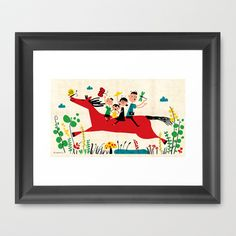 happy horse Framed Art Print by Joanne Liu - $32.00
