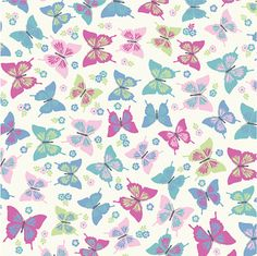 Butterfly Pastel 100% Printed Cotton Fabric. £7.95/m! #ButterflyPrint #CottonFabric #CraftFabric