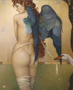 """Parkes, Michael    """"Angel Interrupted""""   Giclee on Canvas 19.5"""" x 24"""" inches"""