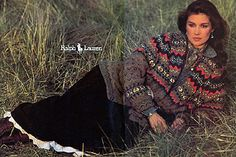 Ralph Lauren - The Santa Fe collection, Fall 1981 featured hand-knit sweaters inspired by American Indian blankets, chambray blouses and petticoats.