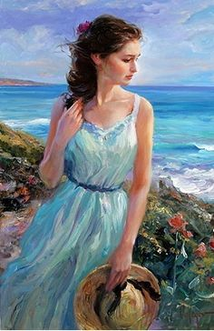 """✿⊱❥ ~ Painting by Vladimir Volegov ~ """"Every artist dips his brush in his own soul, and paints his own nature into his pictures. Painting People, Woman Painting, Figure Painting, Painting & Drawing, Garden Painting, Female Portrait, Female Art, Vladimir Volegov, Art Beauté"""