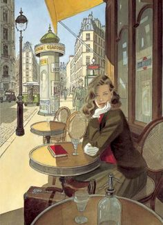 Jean-Pierre Gibrat is a French comic artist and scriptwriter. Born April 1954 in Paris, Jean-Pierre Gibrat knows a suburban childhood uneventful. Art And Illustration, Illustrations Posters, Ligne Claire, Cafe Art, Bd Comics, Alphonse Mucha, Art Design, Comic Artist, Painting & Drawing