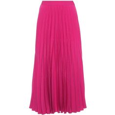 Co Crêpe Pleated Skirt (2,655 PEN) ❤ liked on Polyvore featuring skirts, pink, mid-calf skirts, pink skirt, pleated skirt, pink midi skirt and long skirts