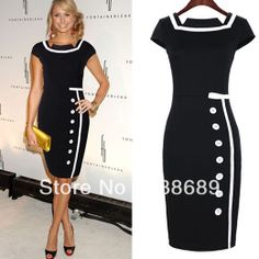New 2014 dress Women Fashion Button Patchwork Business office party Knee-length Slim Splicing Pencil Bodycon mid Dress bty742