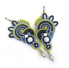 Very long navy blue lime elegant Soutache Earrings by sutaszula