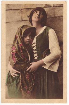Antique hand tinted Belgian sepia postcard