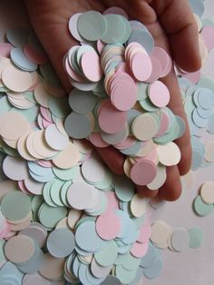 Paper Circle Confetti Wedding Confetti Baby shower confetti Party Events Decorations mint green light blue light grey light pink cream ivory