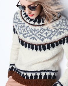 J.Crew women's Collection Fair Isle sweater in Italian yarn and men's Ray-Ban® Clubmaster® sunglasses. To pre-order, call 800 261 7422 or email verypersonalstylist@jcrew.com.