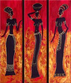 African Wall Art, African Art Paintings, Ganesha Painting, Madhubani Painting, Afrique Art, Mini Canvas Art, Silhouette Art, Black Women Art, Tile Art