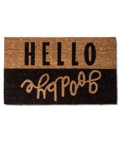 The modern and graphic typography adorning this coir mat will both greet and send off guests accordingly.