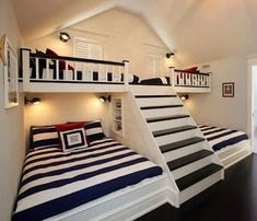 Home Decoration: Guest Room – Bunk beds Bunk Bed Rooms, Attic Bedrooms, Boys Bunk Bed Room Ideas, Cabin Bunk Beds, Loft Bunk Beds, Bunk Bed Designs, Cool Rooms, My New Room, Home Renovation
