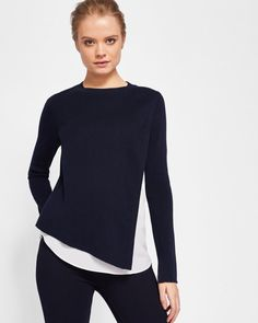 Knitted overlay sweater - Navy | Sweaters | Ted Baker