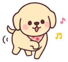 Cheerful golden retriever – LINE stickers Golden Retriever Kunst, Golden Retriever Cartoon, Chibi Dog, Cute Dog Drawing, Dog Emoji, Cute Kawaii Drawings, Love Your Pet, Cute Doodles, Cute Cartoon Wallpapers