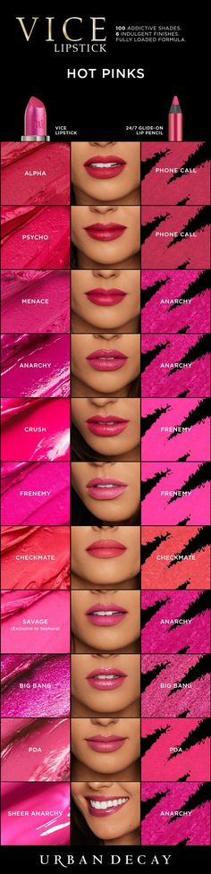 Because there's no such thing as too many options! Pick up all of our pink shades Vice Lipstick now at urbandecay.com. #LipstickIsMyVice