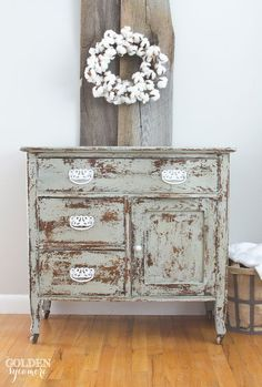 Antique Repurposed Wash Stand to Small Dresser - The Golden Sycamore I love this look. So pretty. Distressed Furniture, Repurposed Furniture, Rustic Furniture, Painted Furniture, Diy Furniture, Refinished Furniture, Furniture Quotes, Furniture Buyers, Street Furniture