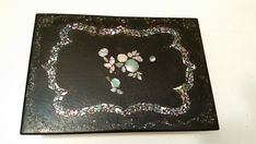 Antique Victorian Black Lacquered Mother of Pearl Writing Slope - Small Portable & Unique Green Velvet, Floral Fabric, Art Nouveau, Vintage Items, My Etsy Shop, Victorian, Make It Yourself, Writing, Pearls