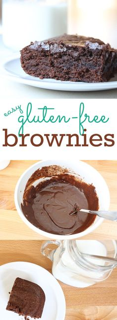 Easy Gluten Free Brownies (egg-free, nut-free too!) This homemade gluten free brownie recipe is so easy and frugal and never fails. The ingredients are all staples and it takes just a couple minutes to whip them up. (Egg free and nut free too. Gluten Free Sweets, Gluten Free Cooking, Gluten Free Recipes, Sem Gluten Sem Lactose, Sans Lactose, Lactose Free, Brownie Recipes, Chocolate Recipes, Cookie Recipes